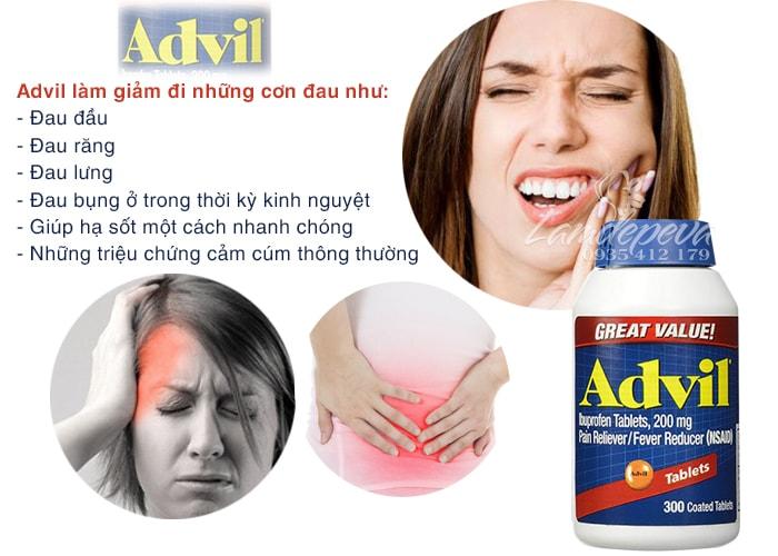 Viên uống giảm đau hạ sốt Advil 300 viên chính hãng của Mỹ