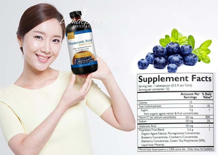 Hyaluronic Acid Blueberry Liquid 473ml-Tinh chất nước việt quất của Mỹ