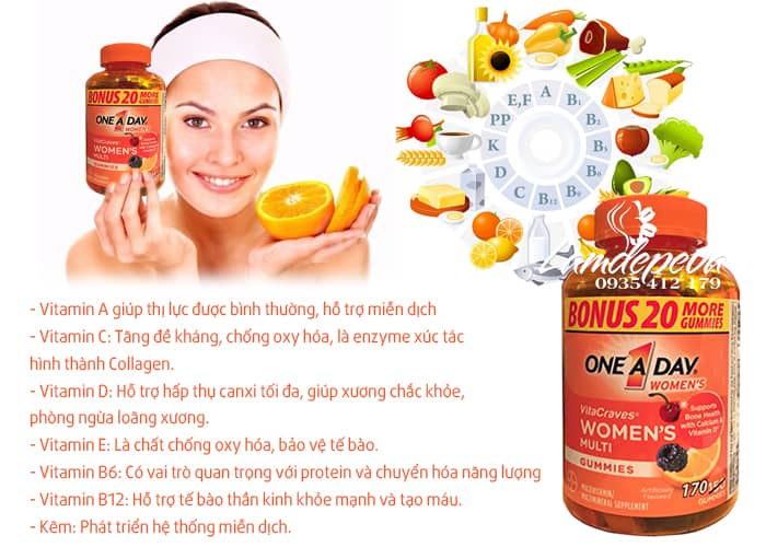 Kẹo dẻo vitamin One A Day Women's Vitacraves Gummies 170 viên 4