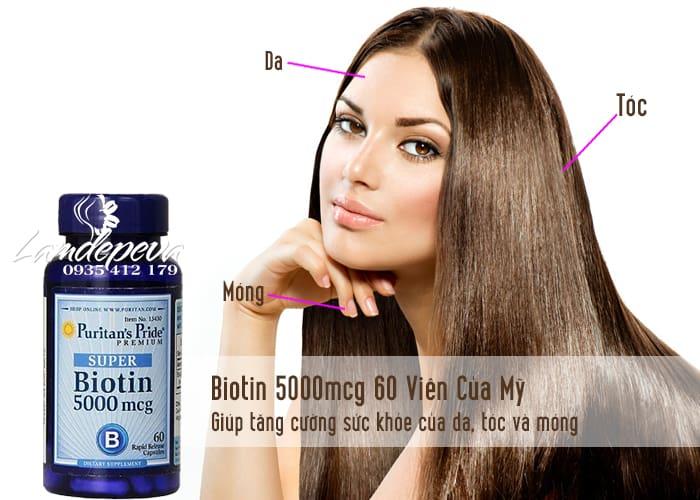 Biotin 5000mcg 60 Viên Của Mỹ-Hỗ Trợ Da, Móng Và Tóc 1