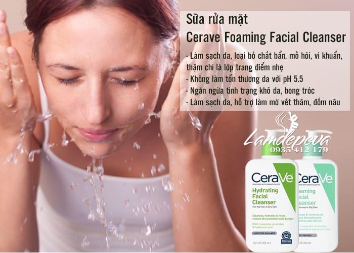 Sữa rửa mặt Cerave Foaming Facial Cleanser 355ml 2 loại 2