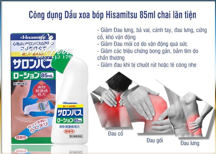 Dầu xoa bóp Hisamitsu 85ml, chai lăn giảm đau xương khớp 2