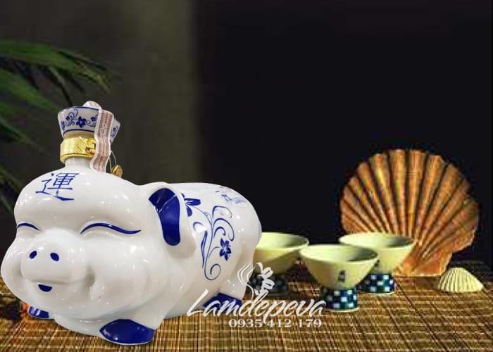 Rượu con heo sứ Nhật, rượu heo sứ trắng Sake 2019 1