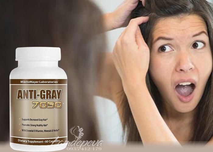 Viên uống trị tóc bạc sớm Anti-Gray 7050 hộp 60 viên từ Mỹ