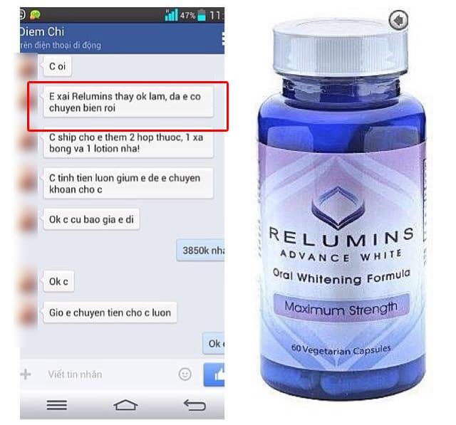 Viên uống trắng da relumins 1650mg review từ một số chị em đã dùng trên Facebook ảnh 1
