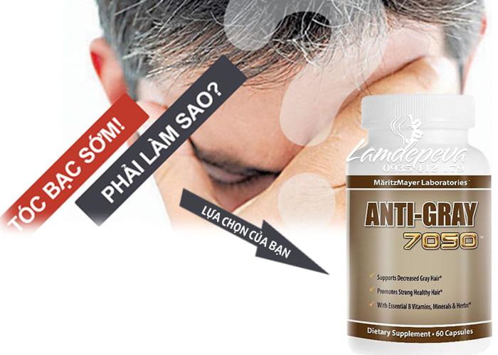 Viên uống trị tóc bạc sớm Anti-Gray 7050 hộp 60 viên chính hãng từ Mỹ