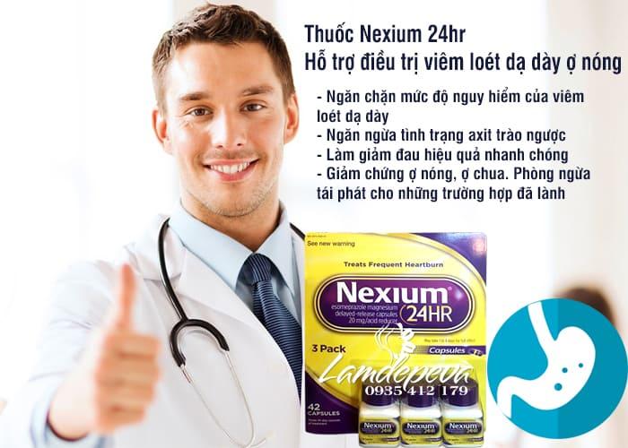 Thuốc hỗ trợ điều trị viêm loét dạ dày ợ nóng Nexium 24hr 3