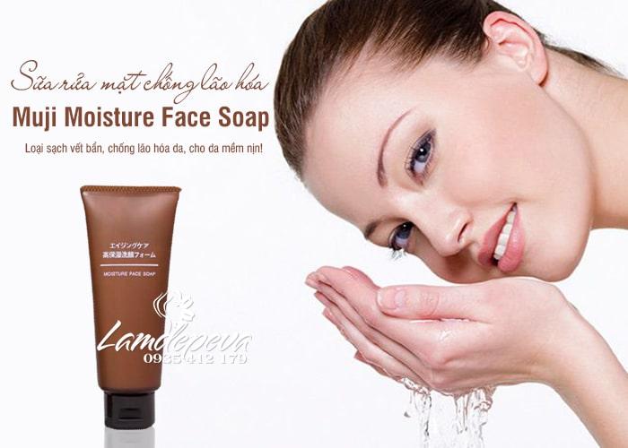 Sữa rửa mặt Muji Moisture Face Soap màu nâu chống lão hóa 3