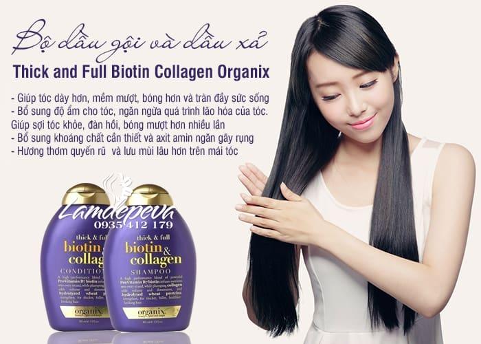 Bộ dầu gội và dầu xả Thick and Full Biotin Collagen Organix 385ml 4