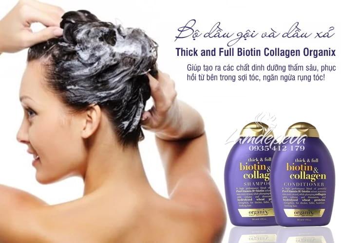 Bộ dầu gội và dầu xả Thick and Full Biotin Collagen Organix 385ml 1
