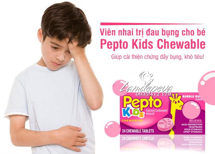 Viên nhai hỗ trợ tiêu hóa cho bé Pepto Kids Chewable 24 viên 1