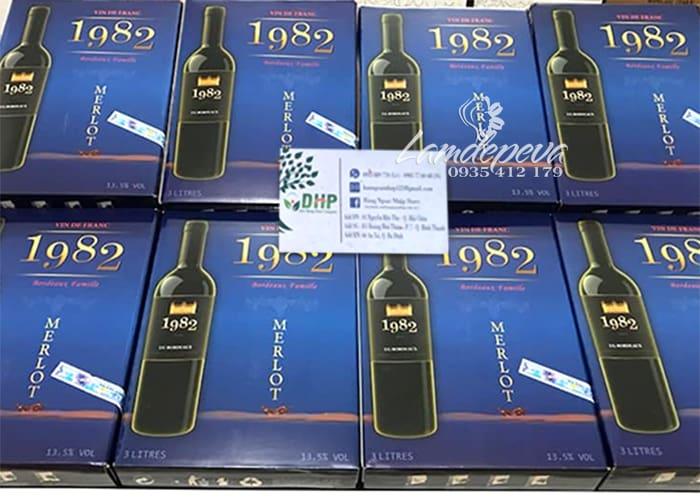 Rượu vang 1982 Merlot hộp 3 lít - Xách tay từ Pháp  0