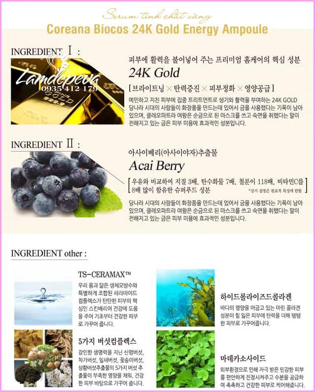 Serum Biocos 24K Gold Energy Ampoule Coreana 100ml Hàn 5