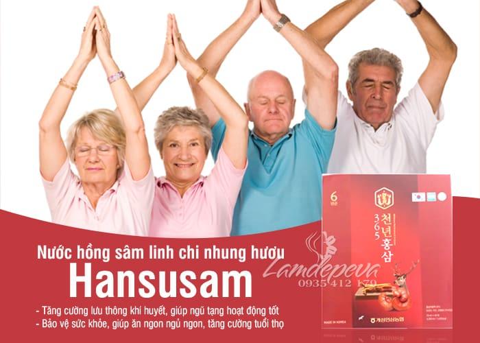 Nước hồng sâm linh chi nhung hươu Hansusam 365 Hộp 60 gói 5