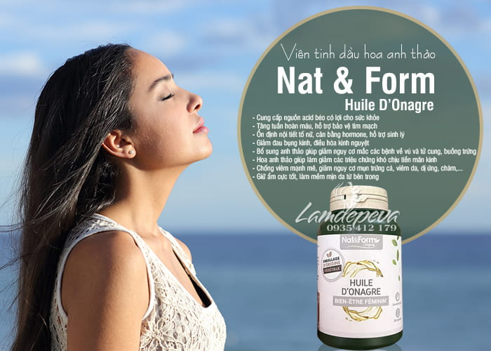 Viên uống tinh dầu hoa anh thảo Nat & Form Huile D'Onagre 200 viên 7