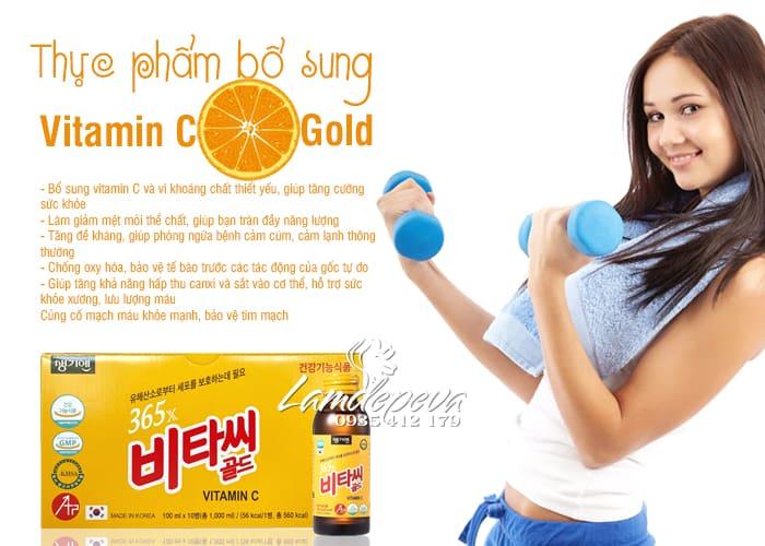 Nước uống bổ sung 365X Vitamin C Gold 10 chai Hàn Quốc 3