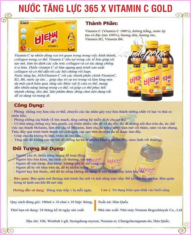 Nước uống bổ sung 365X Vitamin C Gold 10 chai Hàn Quốc 0