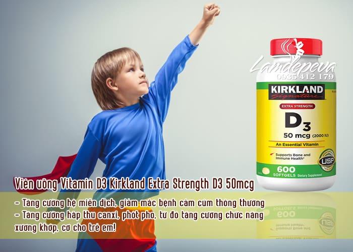 Viên uống Vitamin D3 Kirkland Extra Strength D3 50mcg mẫu mới 1
