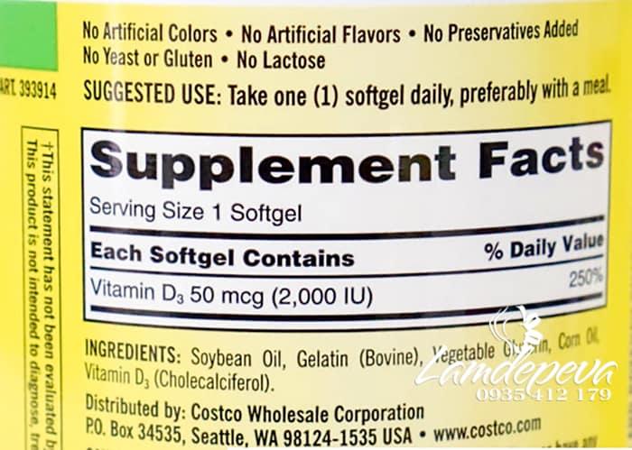 Viên uống Vitamin D3 Kirkland Extra Strength D3 50mcg mẫu mới 4