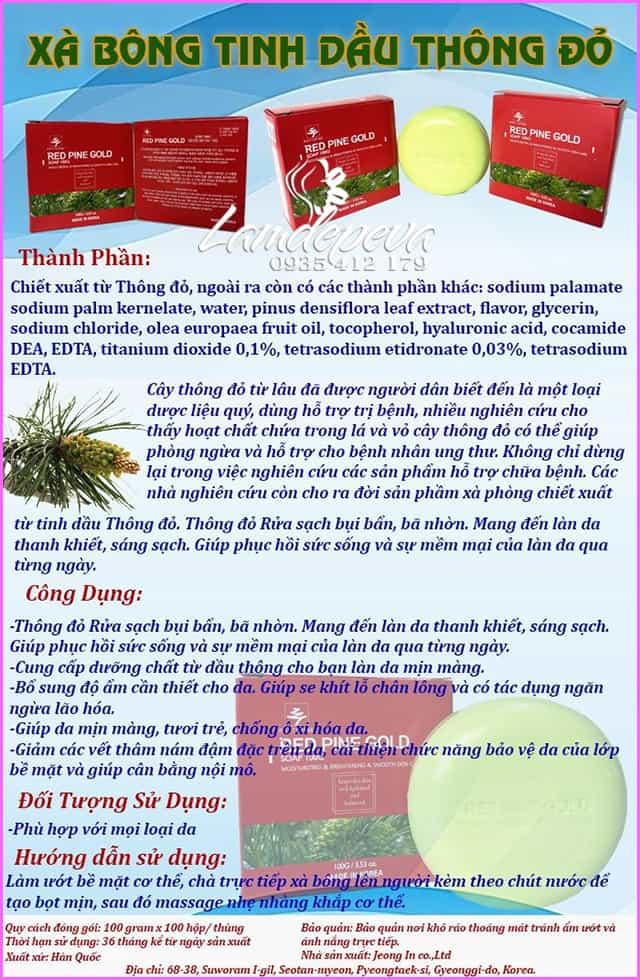Xà phòng tinh dầu thông đỏ Phytopine Red Pine Gold Soap 100g 8