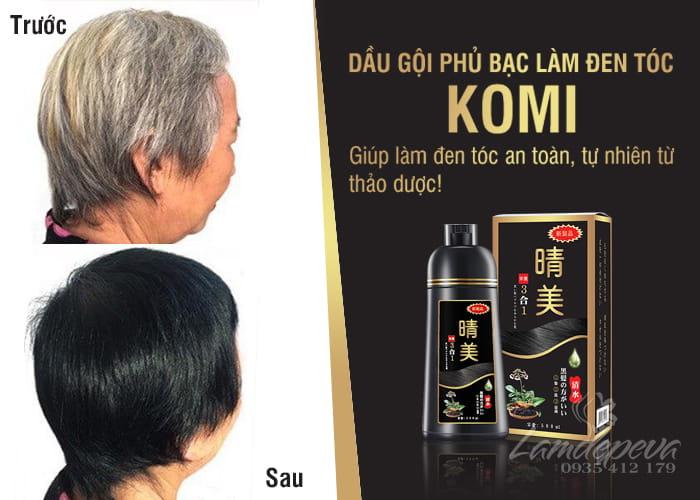 Dầu gội Komi Nhật Bản 500ml - Dầu gội phủ bạc đen tóc 3